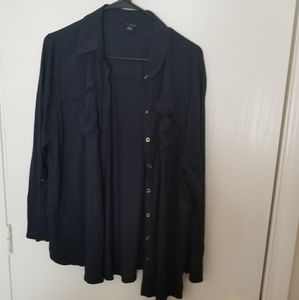 Navy button up shirt with chiffon accents
